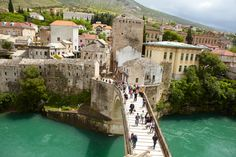 One of the bridges spanning the river in Mostar, Bosnia. http://www.lonelyplanet.com/bosnia-and-hercegovina/southern-bosnia-and-hercegovina/mostar