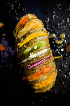 "beautifulpicturesofhealthyfood: "" Rainbow Hasselback Potatoes…RECIPE Hasselback potatoes (named after the restaurant at the Hasselbacken Hotel in Stockholm, Sweden) are a showstopping cross between. Potato Dishes, Potato Recipes, Vegetarian Recipes, Cooking Recipes, Healthy Recipes, Healthy Food, Hasselback Potatoes, Baked Potatoes, Great Recipes"