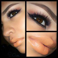 Peach lips with pretty lashes!