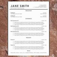 Unique ResumeCv Template  Modern Resume And Cover Letter  Word