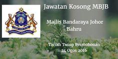 Majlis Bandaraya Johor Bahru Jawatan Kosong MBJB 24 Ogos 2016  Majlis Bandaraya Johor Bahru (MBJB) mencari calon-calon yang sesuai untuk mengisi kekosongan jawatan MBJB terkini 2016.  Jawatan Kosong MBJB 24 Ogos 2016  Warganegara Malaysia yang berminat bekerja di Majlis Bandaraya Johor Bahru (MBJB)dan berkelayakan dipelawa untuk memohon sekarang juga. Jawatan Kosong MBJB Terkini Ogos 2016 : 1. PEMBANTU PENGUATKUASA KP19 Tarikh Tutup Permohonan : 24 Ogos 2016 Sektor : Kerajaan Lokasi : Johor…