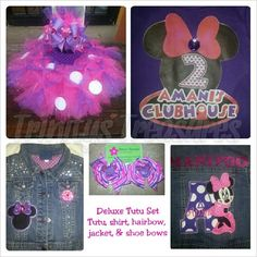 Minnie inspired Deluxe tutu set! Includes tutu (this one has a criss cross overlay), shirt, hairbow, denim jacket, and shoe bows. #tutu #tutuset #hairbow #bow #bows #personalized #custom #denim #denimjacket #Minnie #MinnieMouse #Mickey #MickeyMouse #Disney #MickeyMouseClubhouse #MinnieParty #pinkandpurple #polkadot #giftidea #giftsforgirls #hairaccessories #haircandy #birthday #birthdayparty #holidayshopping #allthingsgirly #TrinitysTreasures