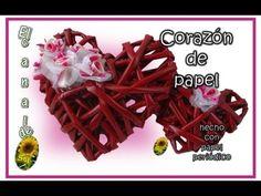 CORAZON DE PAPEL hecho con papel periódico - PAPER HEART made with newsp...