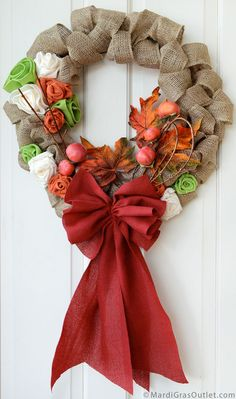 Party Ideas by Mardi Gras Outlet How to Make a Burlap Bow for Natural Decor: Fall Bubble Wreath Burlap Bubble Wreath, Burlap Ribbon, Diy Wreath, Burlap Wreaths, Mesh Wreaths, Wreath Bows, Wreath Ideas, Ribbon Bows, Christmas Gift Decorations
