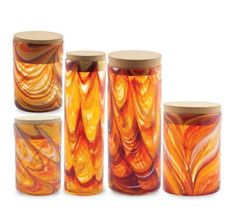 5 Storage Jars (Oranges & Reds)
