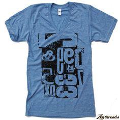 Unisex LETTERPRES Type Tri Blend V Neck T Shirt by ZenThreads, $20.00