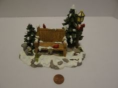 Dept 56 Mill Creek Park Bench Snow Village Christmas 52654 Cardinals Lamppost #Department56 Mill Creek Park, Department 56, Christmas Villages, Cardinals, Bench, Clock, Snow, Home Decor, Watch