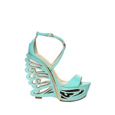 Le Silla 145mm Patent Mirror Butterfly Wedges ($880) ❤ liked on Polyvore
