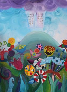 Greatest Gift of All - By Shayna Denburg. This painting is about appreciating what a gift Torah is and the joy it brings to our lives.