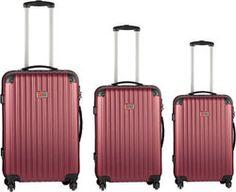 HOME PLUS Σετ βαλίτσες τρόλλεϋ με σκληρό εξωτερικό σκελετό και κλειδαριά ασφαλείας, χρ. σκούρο κόκκινο, 3τμχ