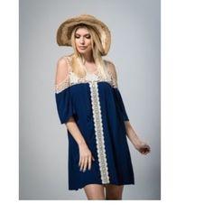 Navy Crochet Tunic Dress Gorgeous neck crochet hem detailed tunic dress. 100% Raylon. Stunning!! Dresses Midi
