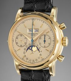 Patek Philippe An extremely attractive and most probably unique yellow gold perpetual calendar chronograph wristwatch with moonphases, champagne dial and original certificate, hangtag and correspondence #mensluxurywatchespatekphilippe Amazing Watches, Cool Watches, Beautiful Watches, Wrist Watches, Men's Watches, Vintage Watches, Antique Watches, Rolex Datejust, Patek Philippe