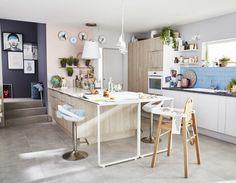 Cuisine Blanc / Beige / Naturel Bois ELICA Contemporain / Actuel Kitchen Dining, Dining Table, Office Desk, Kitchen Remodel, Sweet Home, House Design, Interior Design, Room, Furniture