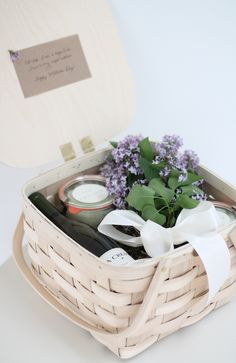 gorgeous hostess gift basket filled with everything he or she needs to relax & enjoy the day after the party