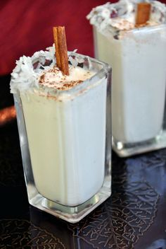 Coquito Recipe: equal parts evap milk, condensed milk and Coconut milk.  Add as much dark rum as to your liking.  Top with cinnamon.