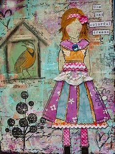 She art wearing interesting dress....and bird in cage....cool.