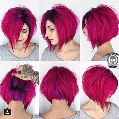 Gorgeous magenta pink hair color and messy bob by Rickey Zito HOT Beauty… Bob Hair Color, Hair Color And Cut, Haircut And Color, Super Short Hair, Short Hair Cuts, Short Hair Styles, Pink Short Hair, Funky Hairstyles, Pretty Hairstyles
