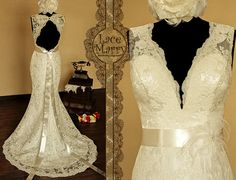 Breathtaking Keyhole Back Vintage Style Lace Wedding Dress with Sweetheart Deep V-Neck, Features Delicate Satin Sash and a Flower Accent $344