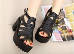 Womens-Punk-Hollow-Out-Open-Toe-Ankle-Strap-Roma-Chunky-Heel-Platform-Sandals
