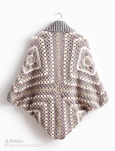 Crochet Cardigan - Free crochet pattern in XS - at Yarnspirations. : Crochet Cardigan – Free crochet pattern in XS – at Yarnspirations. Made from 4 big granny squares. Crochet Cardigan Pattern, Crochet Shawl, Crochet Stitches, Crochet Patterns, Crochet Granny, Vest Pattern, Free Pattern, All Free Crochet, Diy Crochet