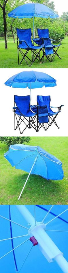 sporting goods: Portable Folding Picnic Double Chair W Umbrella Table Cooler Beach Camping Chair -> BUY IT NOW ONLY: $37.9 on eBay!