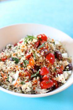 Mediterranean quinoa salad: EatGoo4Life.com Super easy, delicious and gluten free. For a vegan version omit the feta cheese!