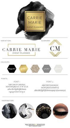 Design Studio | Branding | Business Branding | Brand Board | Branding Kit Logo Design | Rose Gold Logo | Blush Pink Teal Color Scheme | Watercolor Calligraphy Watercolor | Premade Submark Watermark Stamp | Blogger Photography