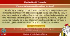 MISIONEROS DE LA PALABRA DIVINA: MEDITACIÓN DEL EVANGELIO - ¿Por qué esta generació...