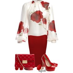 A fashion look from March 2013 featuring midi skirt, platform pumps and red purse. Browse and shop related looks.