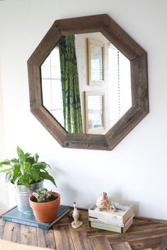 29x29 Modern Octagon Mirror  Reclaimed Wood   Modern Home Decor   Framed  Mirror   Wood