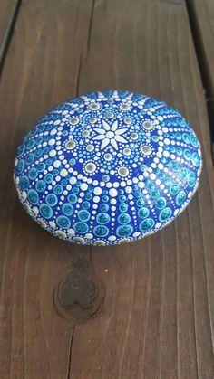Jewel drop mandala Hand painted rock painted stone mandala