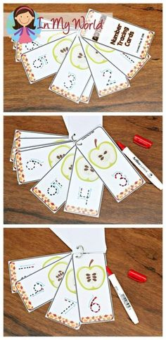 FREE Autumn / Fall Preschool Centers apple number tracing cards                                                                                                                                                                                 More