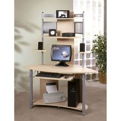 Upgrade your basic desk with this modern computer tower from Apollo. This sturdy desk is constructed from durable metal and coated with an attractive maple finish. The desk has plenty of room for your printer, computer, and home office supplies.