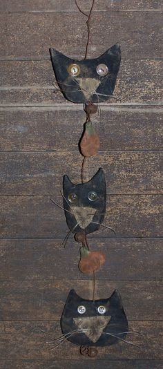 black cat ~ mini pumpkin garland ~ catnap*primitives | eBay