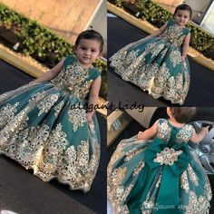 Little Gold Appliqued Flower Girl Dresses For Wedding 2019 Jewel Neck Sequined Lace Girls Pageant Dress Kids Formal Party Prom Princess Gown - Trendy Girls Dresses Online, Girls Pageant Dresses, Dresses Kids Girl, Girls Party Dress, Ball Dresses, Girl Outfits, Pageant Gowns, Dress Party, Dresses Short