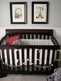 Gray walls + dark wood crib