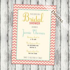 Chevron Bridal shower invitation, yellow mint and coral, typography, digital file, printable (item134))