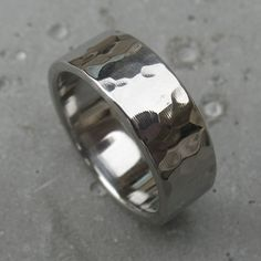 Mens Stainless Steel Mirrored Hammered Ring made by Spexton.com