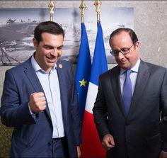 François Hollande et le Premier ministre grec Alexis Tsipras.  A la tête d'une fastueuse parade navale et en présence de chefs d'Etat dont le français François Hollande, le président Abdel Fattah al-Sissi, qui dirige l'Egypte d'une main de fer, a inauguré, jeudi 6 août 2015, l'élargissement du canal de Suez pour tenter de relancer une économie à genoux.