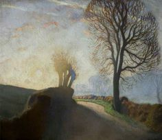 George Clausen (1852-1944) - Sunrise on the Road. Oil on canvas.