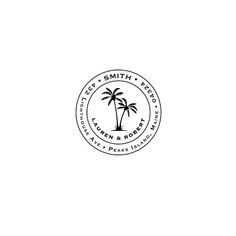 Palm Tree Address Stamp, Personalized Custom Return Address Rubber Stamp or Self Ink, Tropical Housewarming Circle Wedding - Modernes Paper Palm Tree, Palm Trees, Palm Tree Print, Wedding Logos, Diy Wedding, Nautical Wedding, Wedding Stamps, Wedding Gifts, Web Design