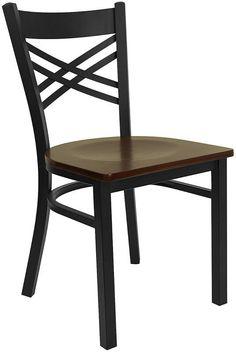 Flash Furniture HERCULES Series Black ''X'' Back Metal Restaurant Chair with Mahogany Wood Seat