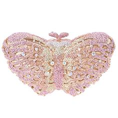 Butterfly Clutches And Bags For Women Crystal Evening Handbags Pink -- Check…