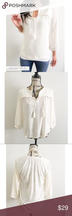"""Loft White Boho Top ✦   ✦{I am not a professional photographer, actual color of item may vary ➾slightly from pics}  ❥chest:20.5"""" ❥waist:21"""" ❥length:22"""" ❥sleeves:18.5"""" ➳material/care:polyester/rayon/hand wash  ➳fit:billowy sml  ➳condition:gently used   ✦20% off bundles of 3/more items ✦No Trades  ✦NO HOLDS ✦No transactions outside Poshmark  ✦No lowball offers/sales are final LOFT Tops Blouses"""