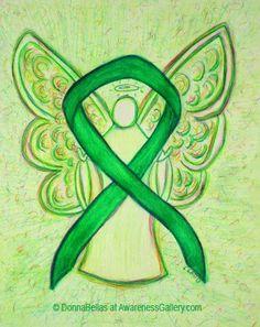 Green Guardian Angel Awareness Ribbon Image Picture