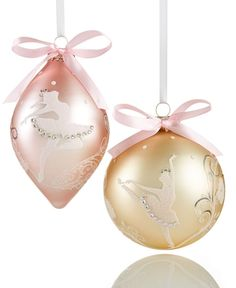 holiday lane set of 2 ballerina ball ornaments only at macys