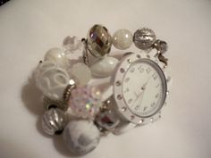 Silver and White Interchangeable Chunky Beaded Watch by BeadsnTime, $25.00