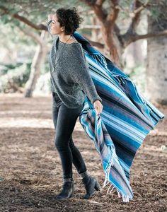 Fair Trade Hand-woven Blue Mexican Serape Blanket