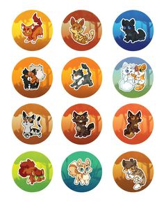 warrior kitty buttons 2 Thunder, Brakenfur, Cinderpelt, Mapleshade, Thistleclaw, Cloudtail and Brightheart, Longtail, Tigerstar, Bramblestar, Squirrelflight, Crookedstar, and Leafpool