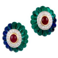 DAVID WEBB Diamond Cabochon Ruby Azurite Malachite Earrings. Circa 1980.